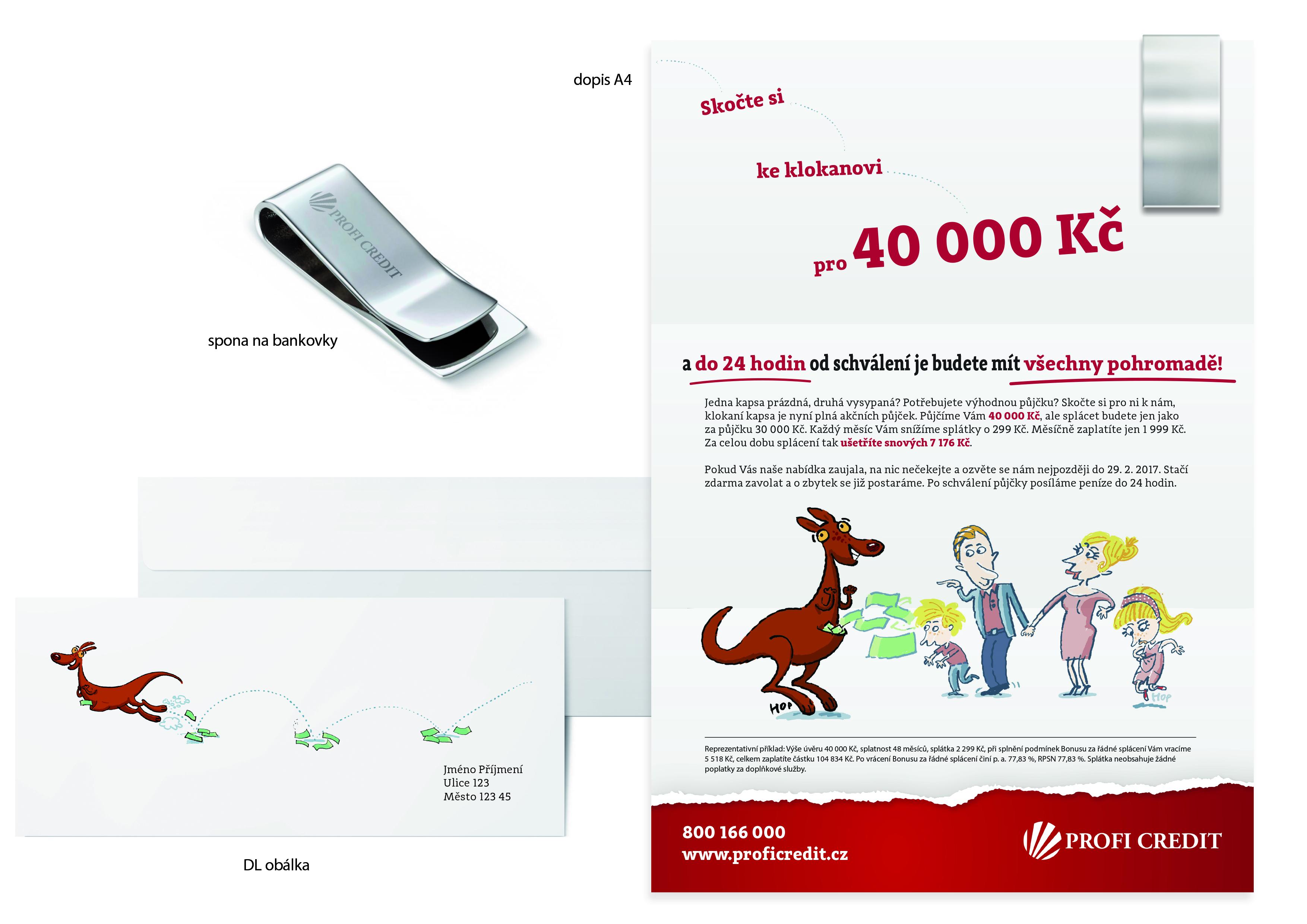 Grafický návrh direct mailu pro Profi Credit